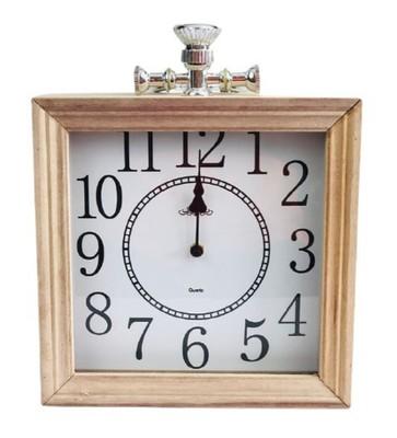 LH Oak Square Digit Clock 25cm - White